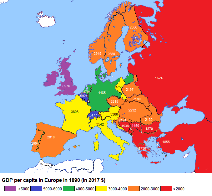 gdp per capita in europe in 1890 in 2017 � brilliant maps