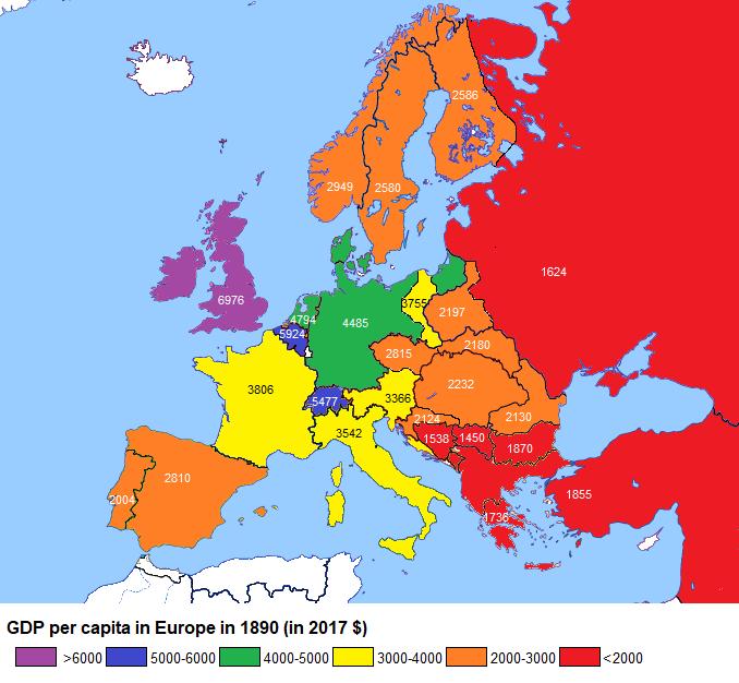 GDP per Capita in Europe in 1890 (in 2017 $)