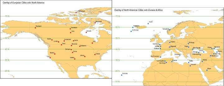 European & North American Cities Transposed Onto The Opposite Continent At The Same Latitude