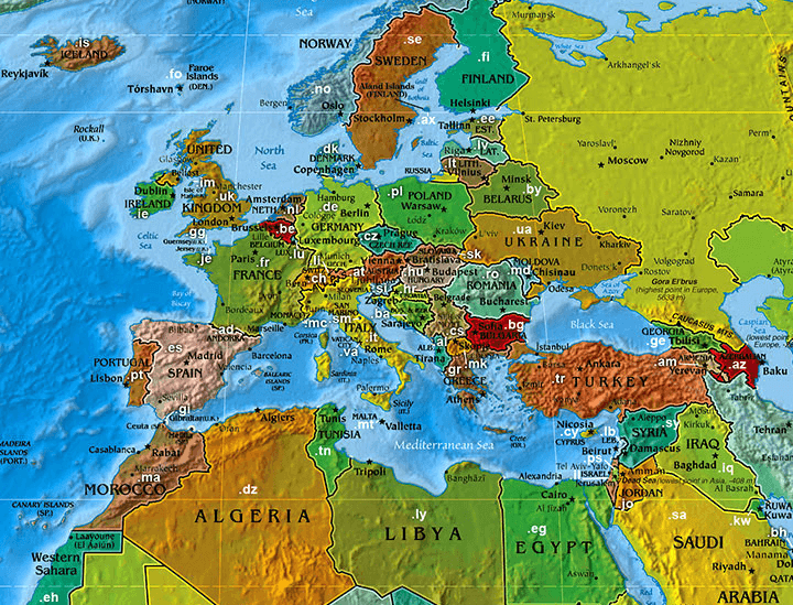 Domain name extensions in Europe