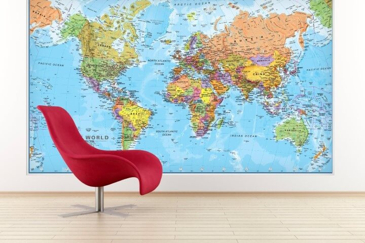 37 eye catching world map posters you should hang on your walls giant world megamap large wall map gumiabroncs Choice Image