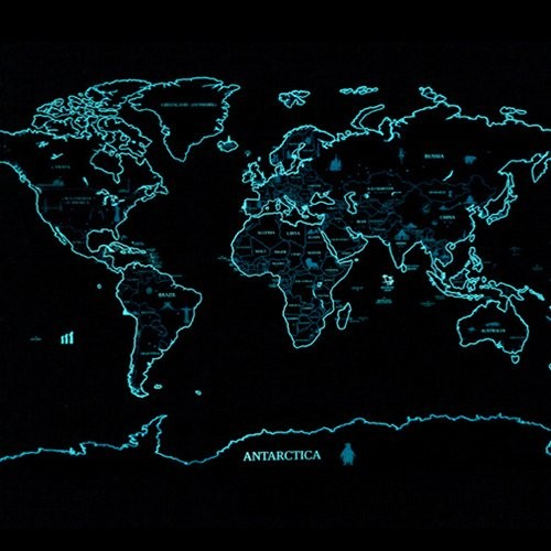 Glow in the Dark World Map Scratch Off Map
