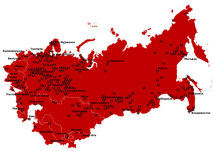 Map of The Soviet Gulag Archipelago 1923-1961