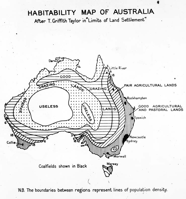 Habitability Map of Australia From 1946
