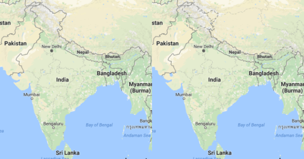 Indian Borders According To Google Maps India vs USA ...