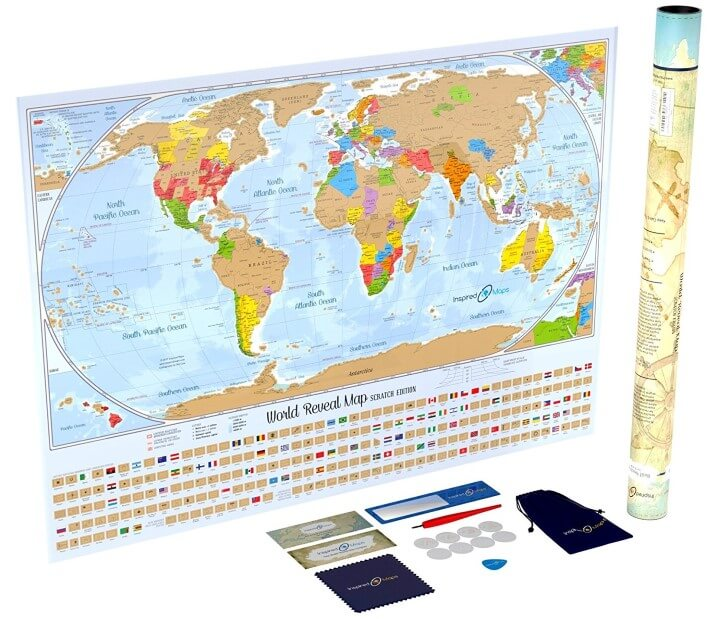 Inspired Maps Scratch Off World Map Poster Designed by A U.S. Cartographer