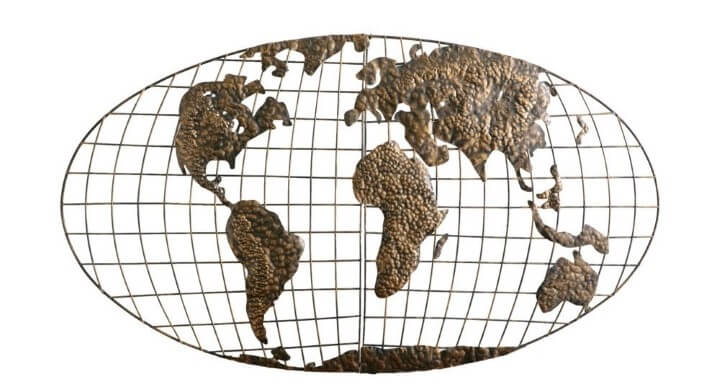 37 eye catching world map posters you should hang on your walls iron world map wall art gumiabroncs Choice Image