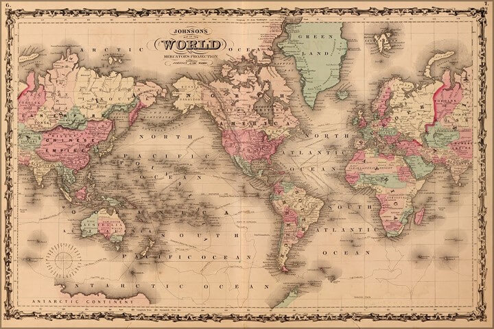 Johnsons World Map 1862 Antique Reprint