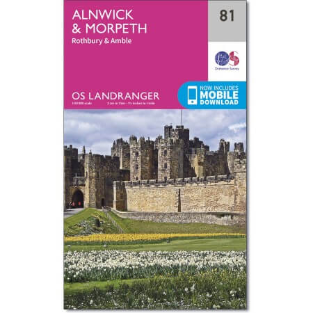 OS Landranger Map of Alnwick & Morpeth