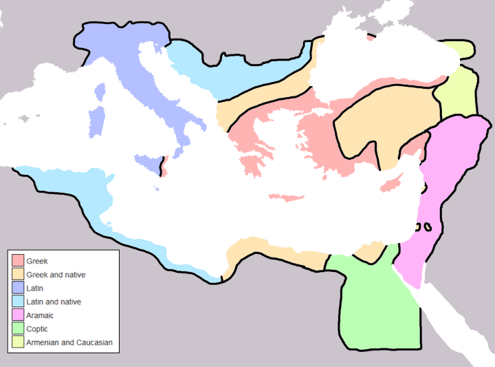 Byzantine Empire Linguistic Divisions Under Justinian I c.560CE