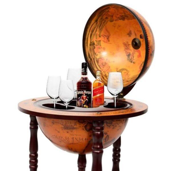NEW Old World Globe Rolling Wine Beverage Bar Serving Drink Liquor Cart Wooden