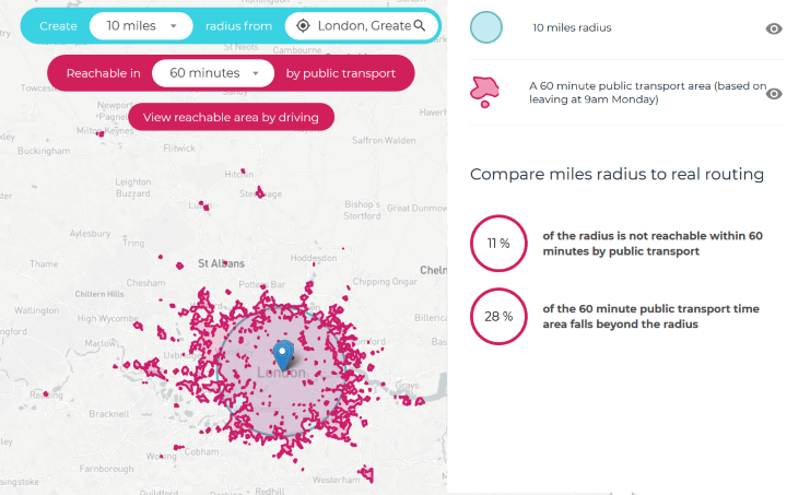 London Public Transport Travel Time Map