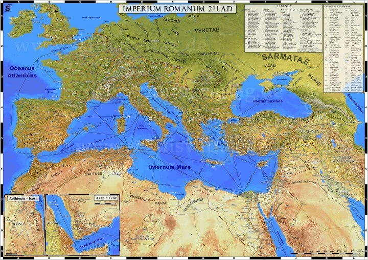 An Incredibly Detailed Map of the Roman Empire in 211 CE