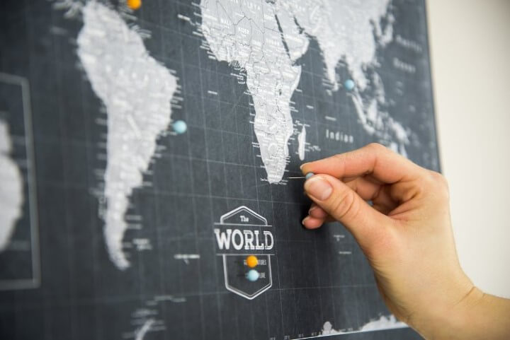 Modern Slate World Travel Map Pin Board
