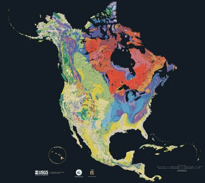 Beautiful Geological Map of North America Showing Bedrock Ages