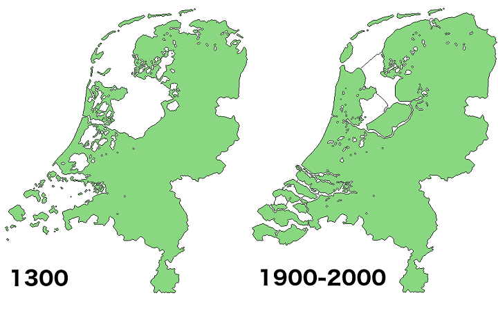 Land Reclamation in the Netherlands 1300 Vs 2000 Brilliant Maps