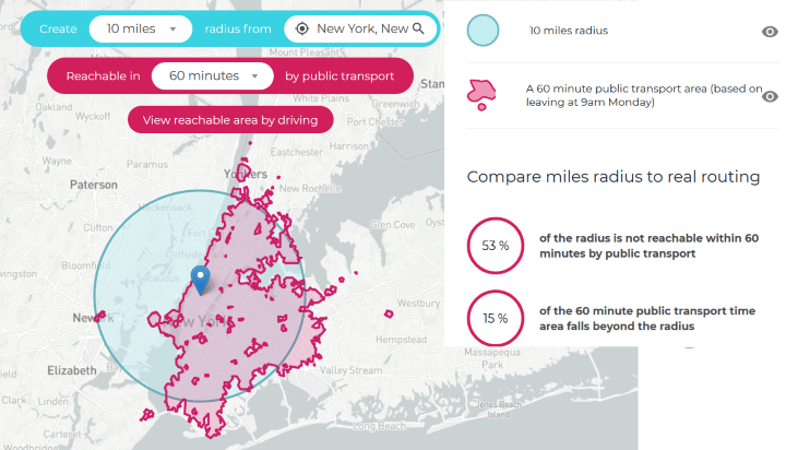 New York Public Transport Travel Time Map