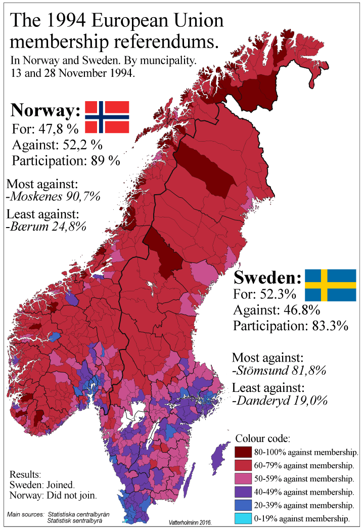 1994 Swedish and Norwegian EU Referendum Results By Municipality