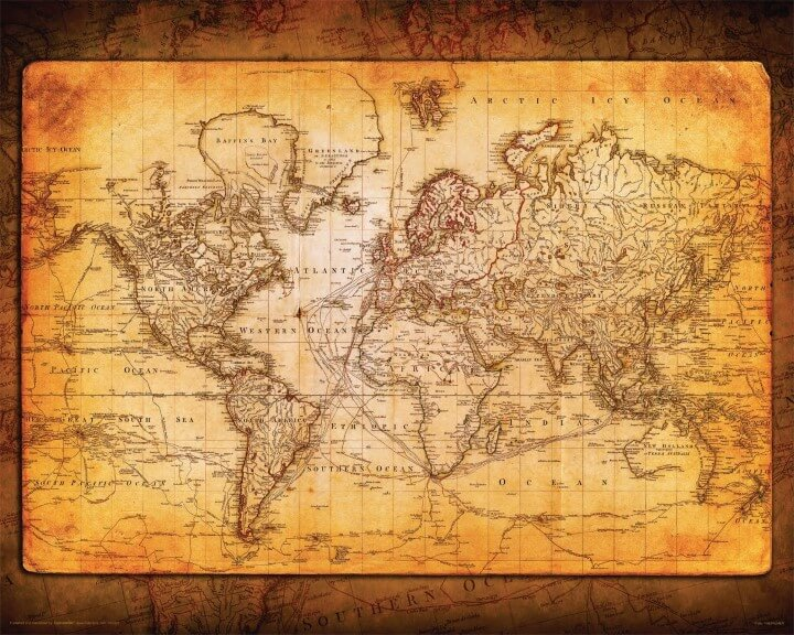 37 eye catching world map posters you should hang on your walls old style decorative world map gumiabroncs Gallery