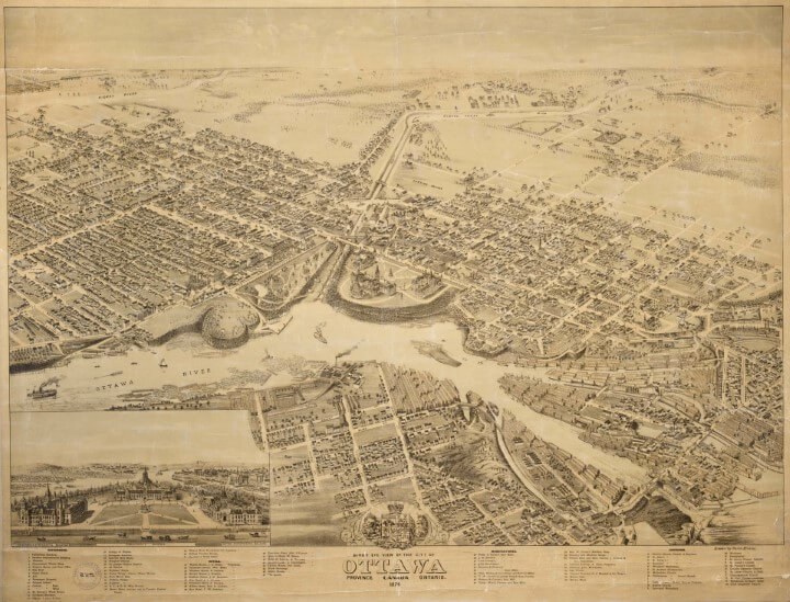 Bird's Eye View of The City of Ottawa, Ontario (Canada) In 1876