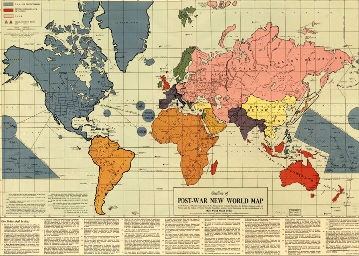 1942 world map by Maurice Gomberg showing how the world might look like following World War 2