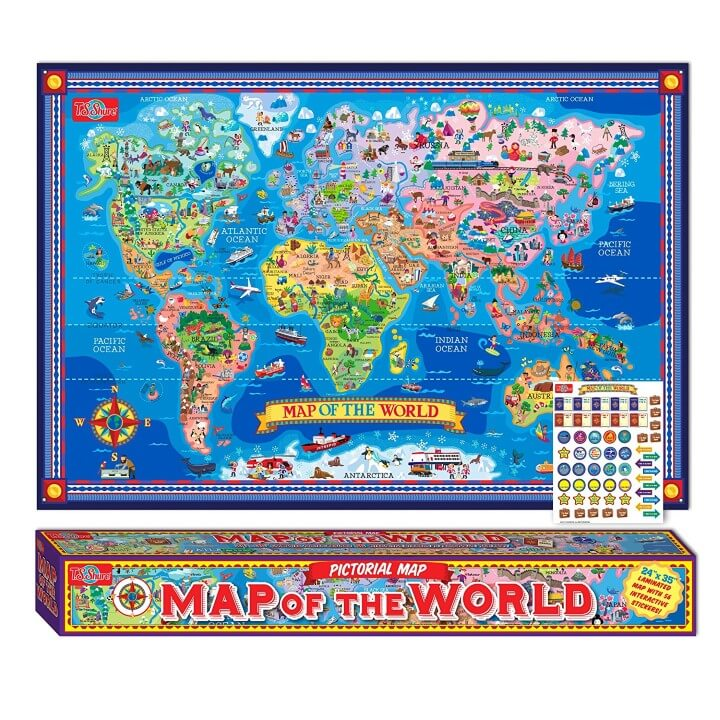 t s shure pictorial map of the world with stickers