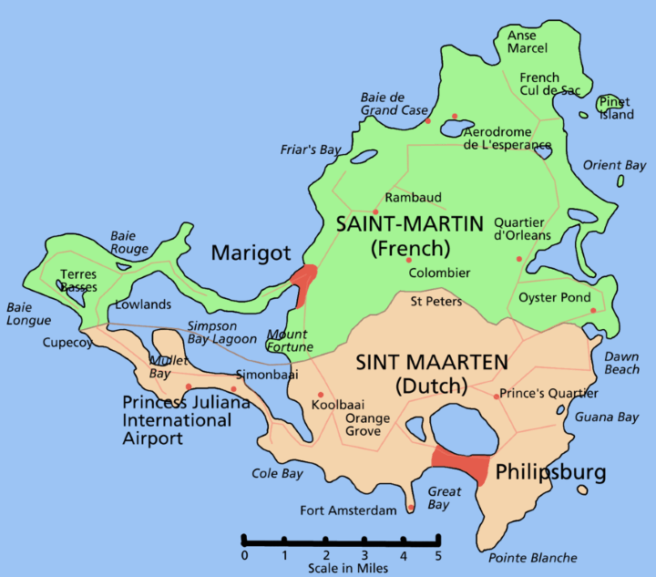 Saint martin the smallest inhabited island divided between two saintmartinmap publicscrutiny Choice Image