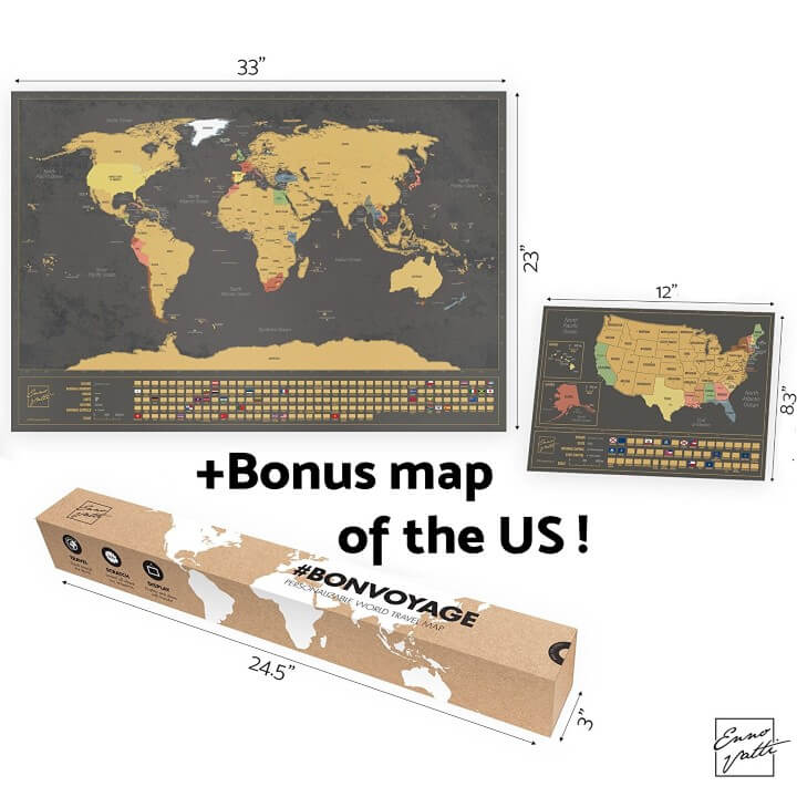 Scratchable World Map with Bonus A4 Map of the US