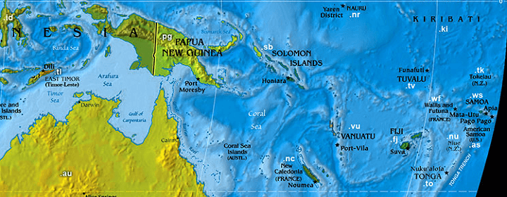 Domain name extensions in the South-Pacific