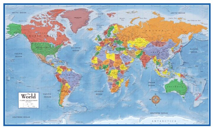 37 eye catching world map posters you should hang on your walls swiftmaps world premier wall map poster sciox Choice Image
