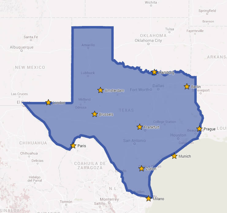 Major European Cities On A Map Of Texas