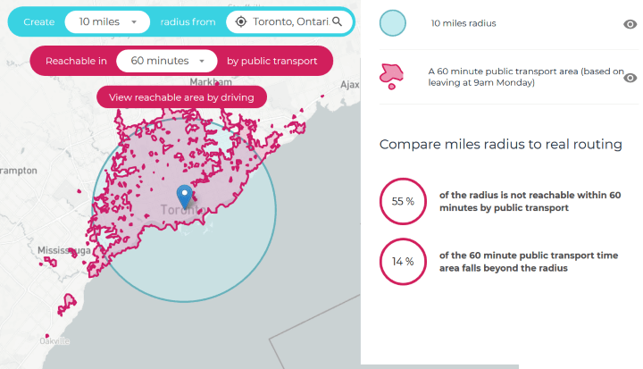 Toronto Public Transport Travel Time Map
