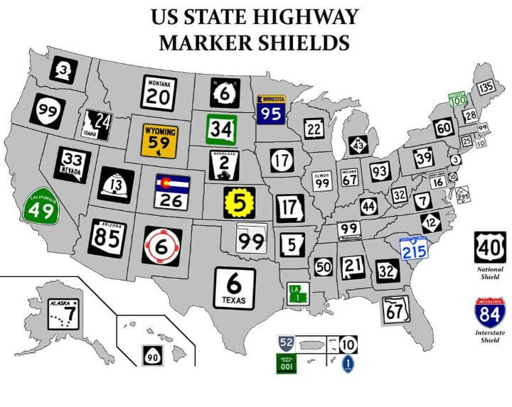 US State Highway Route Marker Shields