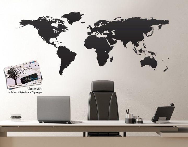 Lovely Vinyl Wall Art World Map Of Earth