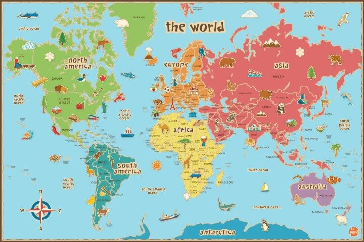 37 eye catching world map posters you should hang on your walls wall pops kids world dry erase map decal gumiabroncs Choice Image