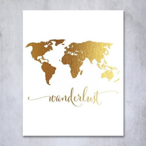 Wanderlust World Map Gold Foil Art Print