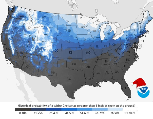 Probability of a White Christmas Across The United States