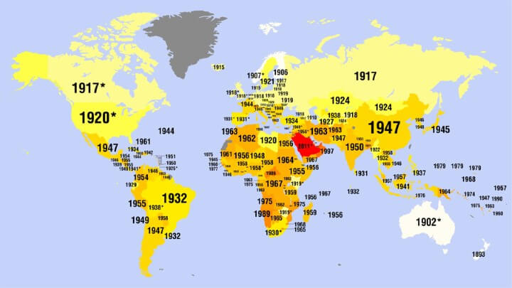 Women's Suffrage Mapped: The Year Women Got The Vote By Country