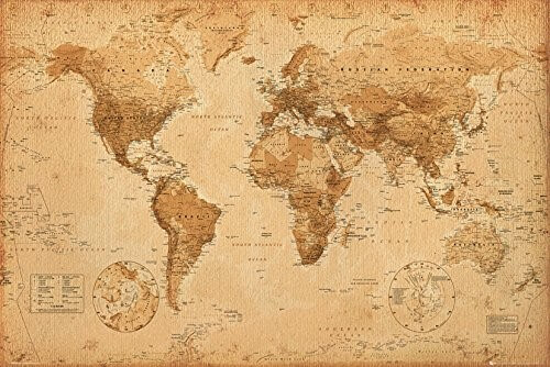 World Map Antique Art Poster