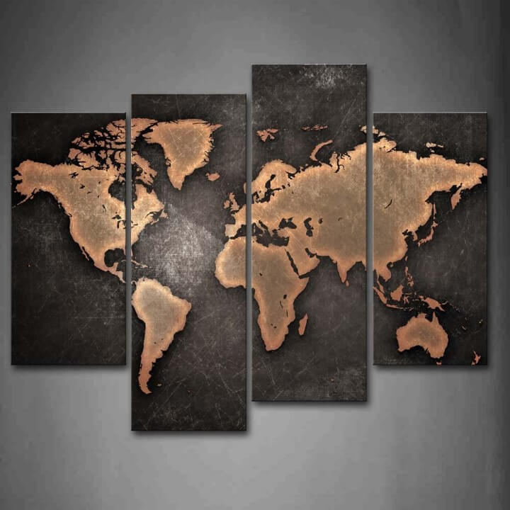 World Map Black Background Wall Art