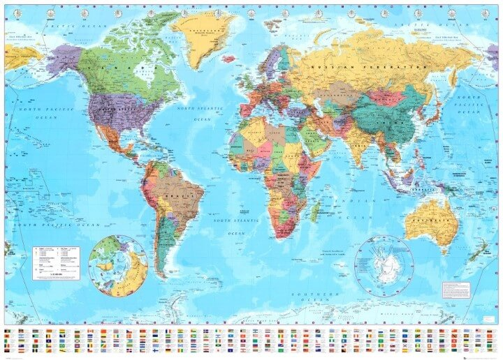 EyeCatching World Map Posters You Should Hang On Your Walls - World map with countries labeled