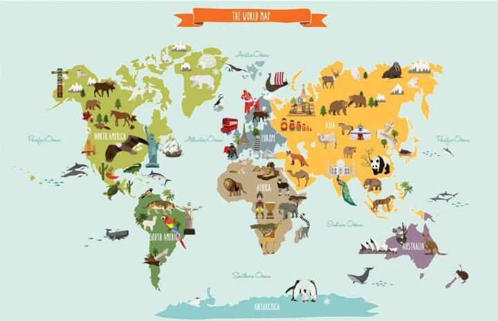 World Map Peel and Stick Wall Print