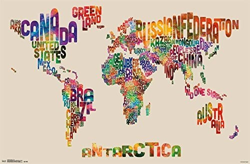 37 eye catching world map posters you should hang on your walls world map text wall poster gumiabroncs Choice Image