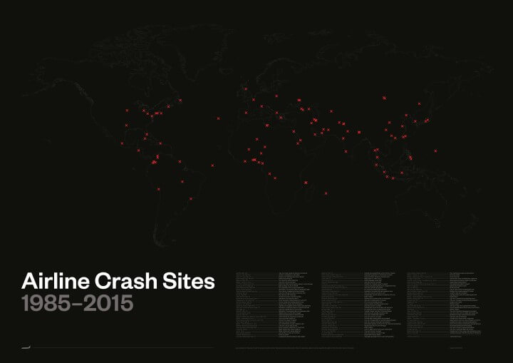 Don't Look At This Map If You Have A Fear Of Flying: Major Plane Crash Sites 1985-2015