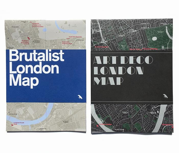 Art Deco and Brutalist London Maps