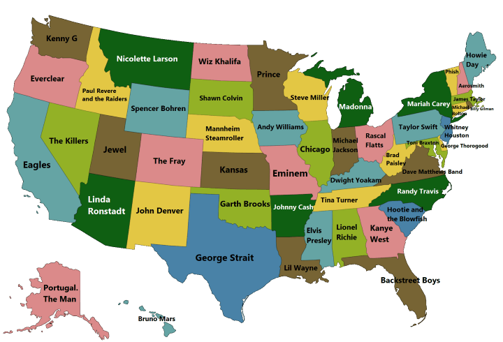 Best Selling Singer, Music Artist or Band From Each US State