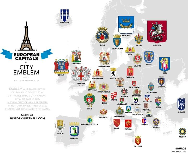 European Capitals By City Emblem