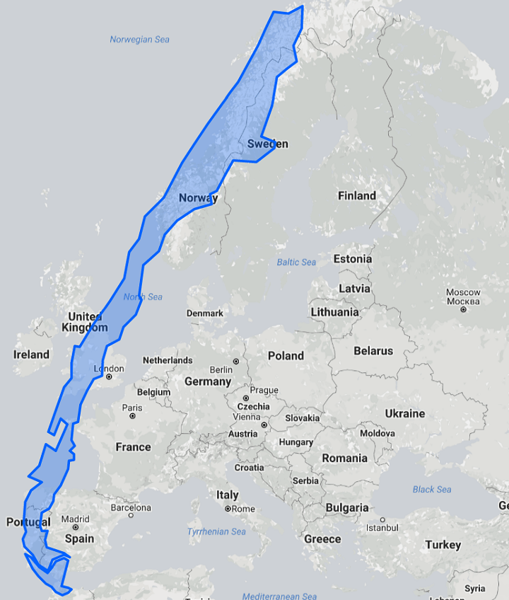 Chile Is a Ridiculously Long Country Europe US Size Comparison