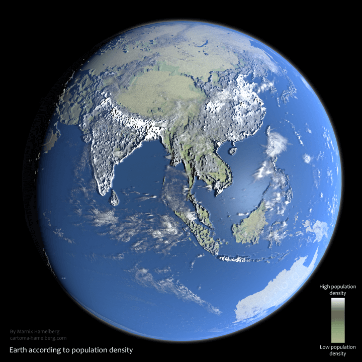 Population Density Represented As Elevation
