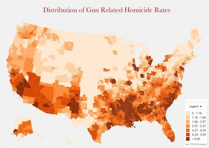Distribution of gun related homicide rates in the US